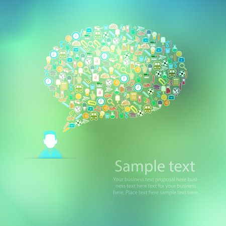 An illustration of a collage of Back to School buzz words and icons forming the shape of a talk bubble Vector