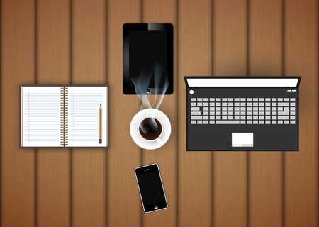 digital tablet: digital tablet with coffee cup and phone on table- Vector Illustration