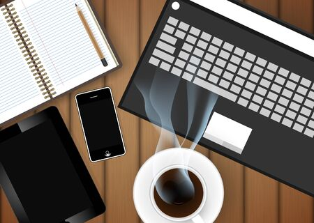 digital tablet with coffee cup and phone on table- Vector Vector