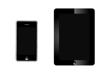 Realistic tablet and phonev with blank screen isolated on white background