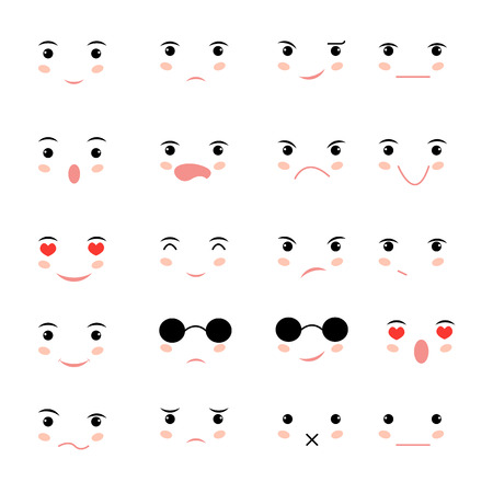 Set of faces with various emotion  イラスト・ベクター素材