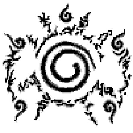 assassin: Conjugate Nine-tailed fox in Cartoon Naruto pattern style 8 bit.