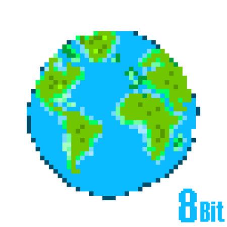 8 bit: D�a de la Tierra p�xeles. Salvar la Tierra concepto de estilo de 8 bits.