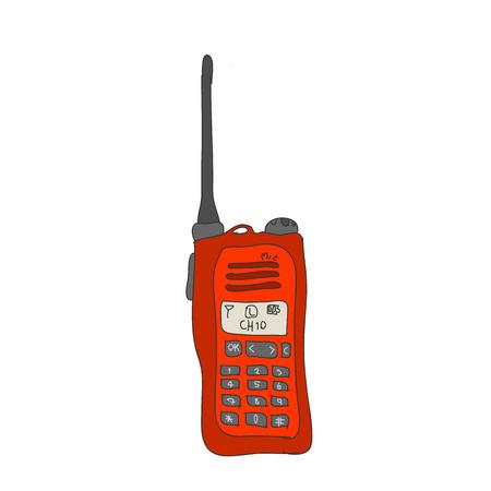 simplex: Red radio or walkie-talkie communication hand drawn