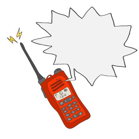 Red radio or walkie-talkie communication hand drawn