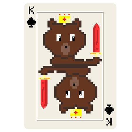 8 bit: Rey Oso tarjeta de 8 bits de juego aislado en un fondo blanco.