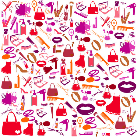 Cosmetic, make up and beauty icons and background. photo