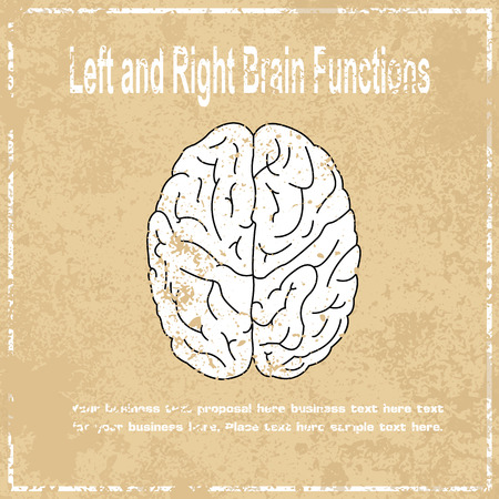 brain function: Left and Right brain function abstract grunge background, vector illustration