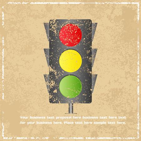 Traffic light abstract grunge background, vector illustration Vector