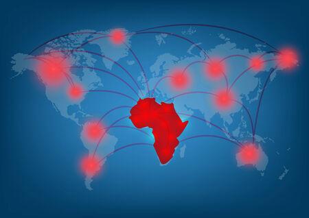 plague: ebola virus plague map concept, vector illustration