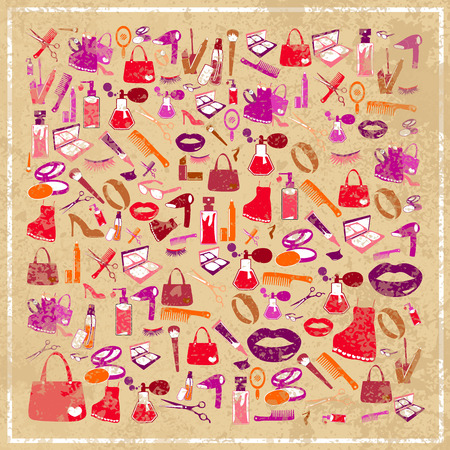 nail file: Cosmetic make up and beauty icons abstract grunge background, vector illustration Illustration