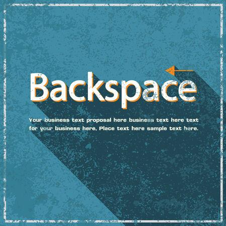backspace: Backspace abstract grunge blue background, vector illustration Illustration
