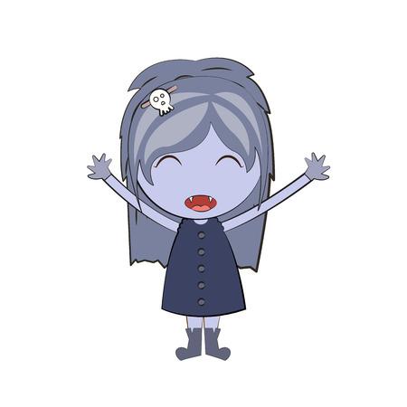 girl cute: cartoon happy vampire girl Cute doodles drawings