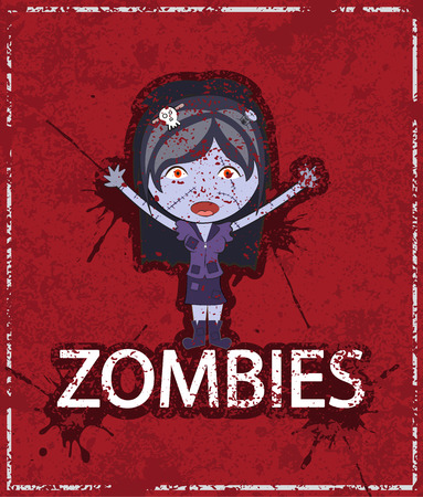 girl cute: cartoon happy zombie girl Cute doodles drawings