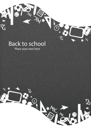 school backpack: seamless pattern with colorful school icons on background with media icons Illustration