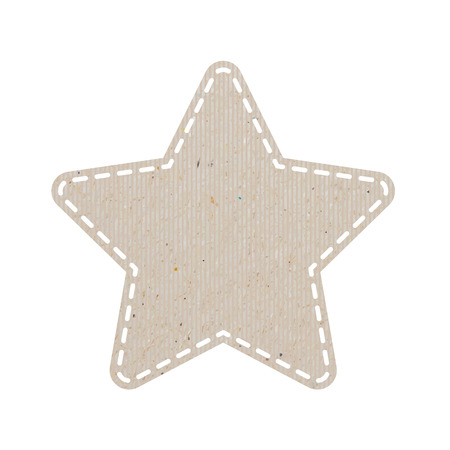star recycled paper craft on white paper background Vector