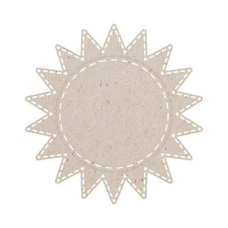 sun recycled paper craft on white paper background Vector