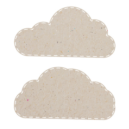 cloud recycled paper craft on white paper background Vector
