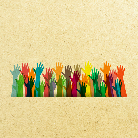 ethnic diversity: hands of different colors paper. cultural and ethnic diversity,illustration