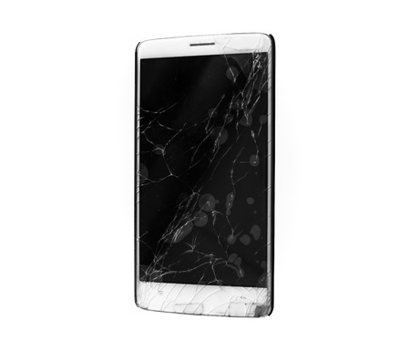 Modern mobile smartphone with broken screen isolated on white background. Archivio Fotografico