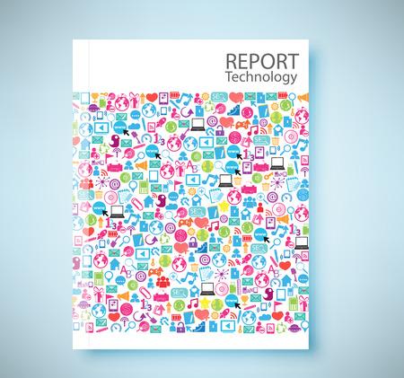 Cover rapport sociaal netwerk achtergrond met media iconen, vector illustratie Stock Illustratie