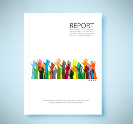 annual report: Cover report hands of different colors background, vector illustration