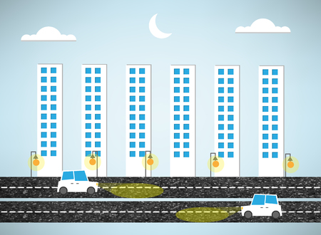 urban landscape and road of evening Vector