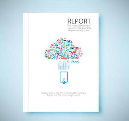 profil: Okładka raportu Chmura społecznościowy tło z ikonami mediów, ilustracji wektorowych Ilustracja