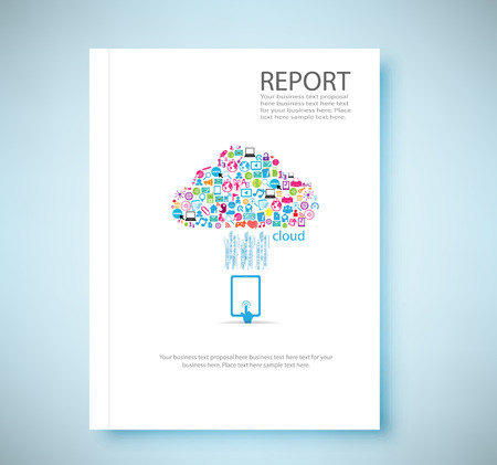 Cover report cloud social network background with media icons, vector illustration Illustration