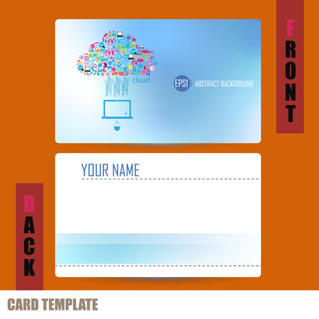 businesscard: Modern Template computer idea with social network icons Business-Card Set