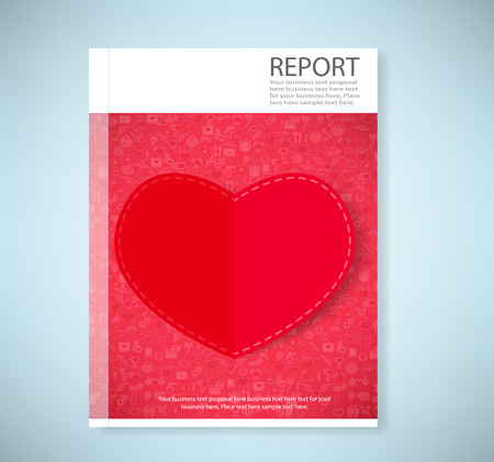 love declarations: Report red paper heart Valentines day card with sign on Icon love background Illustration