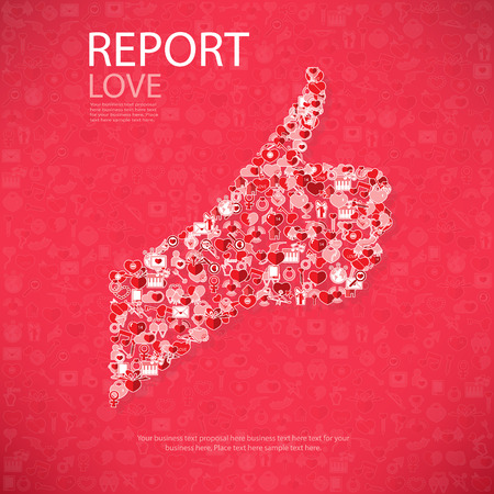 love declarations: Report template design Like symbol icon Valentines day idea illustration