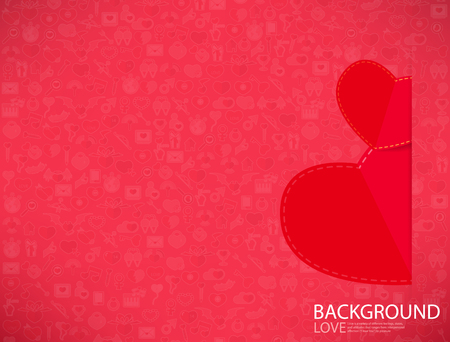 heart diamond: Red paper heart Valentines day card with sign on Icon love background