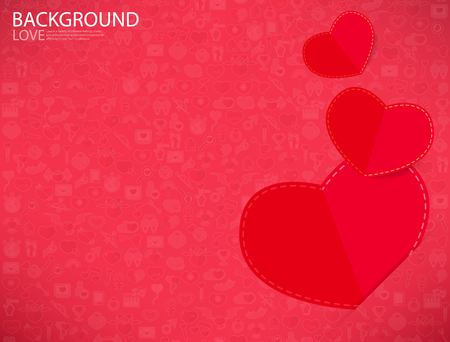 alcohol series: Red paper heart Valentines day card with sign on Icon love background
