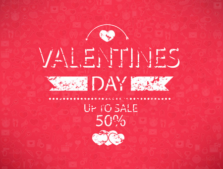 love declarations: Template valentines day up to sale 50% card and banner. Illustration
