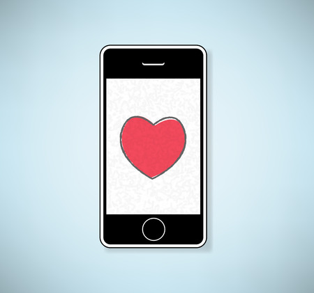 symbolize: Phone show heart, Valentine`s day.  Illustration