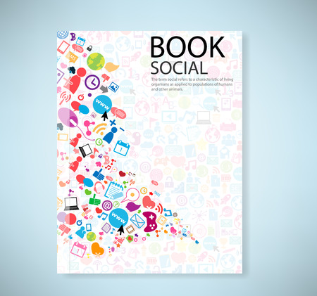 artwork: Cover report social network background with media icons, vector illustration