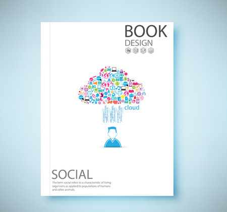 company profile: Cover report social network background with media icons, vector illustration