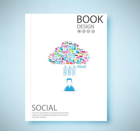 page couverture: rapport de couverture r�seau social de fond avec des ic�nes des m�dias, illustration vectorielle Illustration