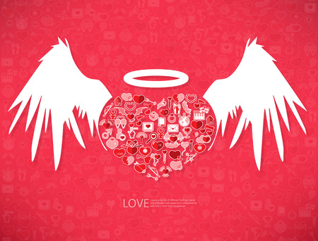 love declarations: Red icon heart angel valentines day card with sign on Icon love background
