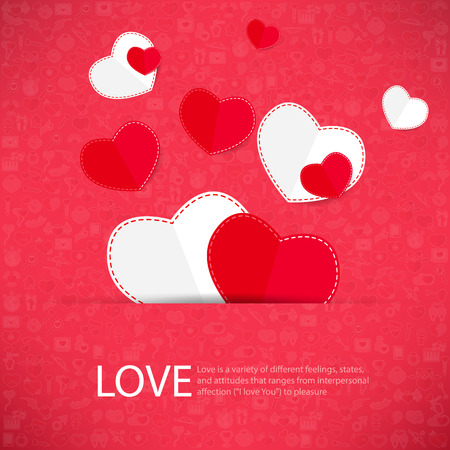 carta de amor: Icono rojo del coraz�n de San Valent�n tarjeta del d�a con el signo de amor Icono fondo