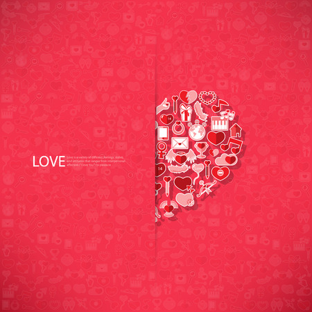 love declarations: Red icon heart Valentines day card with sign on Icon love background Illustration