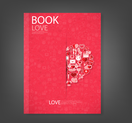 love declarations: Report red icon heart Valentines day card with sign on Icon love background