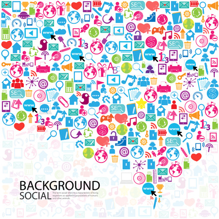 social network: Template design Businessman thinking idea with social network icons background Illustration