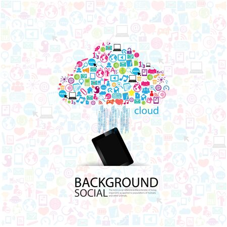 clicking: User clicking cloud icon.  Stock Photo