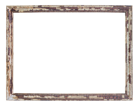 Vintage picture frame wood and old, white background, clipping path included Фото со стока
