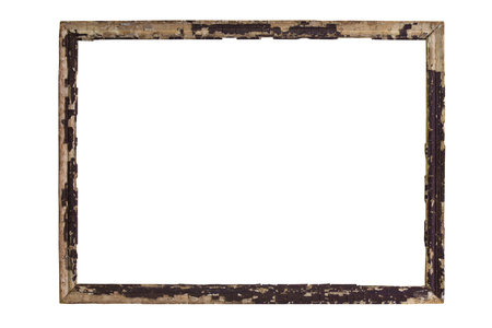 tableau: Vintage picture frame wood and old, white background, clipping path included Stock Photo