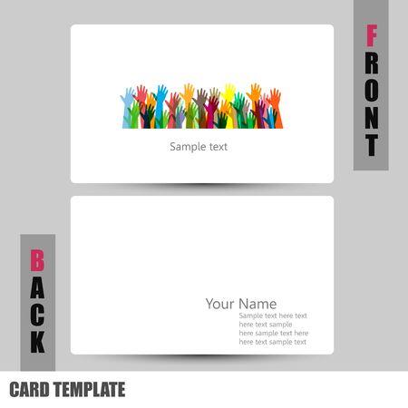 businesscard: Modern hands of different colors concept Business-Card Set Illustration
