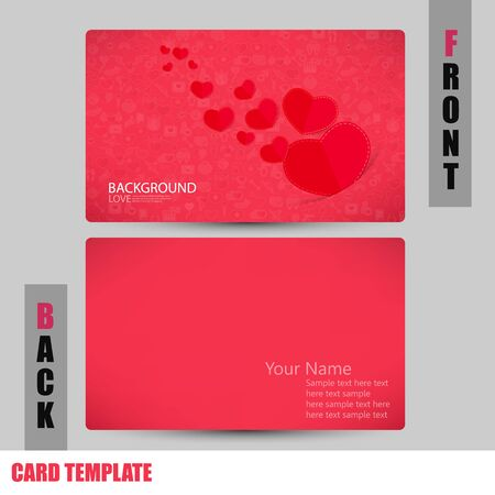 businesscard: Modern red icon heart Valentines day concept Business-Card Set Illustration