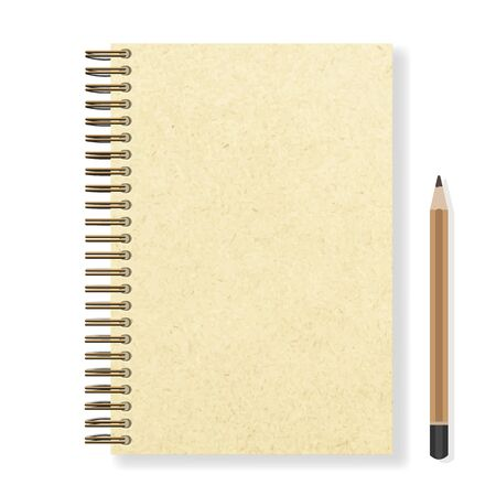 blank realistic spiral notepad notebook and pencil